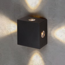 Уличный настенный светодиодный светильник Kvatra черный 1601 TECHNO LED