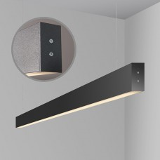 Линейный светодиодный подвесной односторонний светильник 128см 21Вт ,черная шагрень, LS-01-1-128-21-MSh
